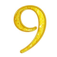 9 - Chiffres Or avec écailles