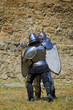 Medieval european knights fighting near citadel wall