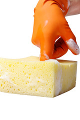 Hand relaxing on sponge.