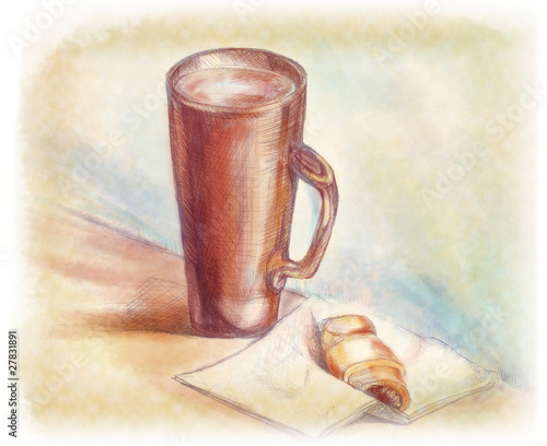 Still life with a mug and croissant