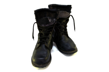Black boots isolated on white