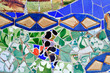 Mosaic of Antoni Gaudi in Guell park in Barcelona, Spain