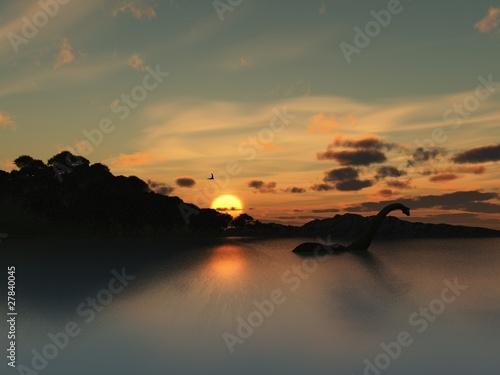 Loch Ness Monster in silhouette - 27840045