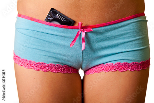 Close-up of woman panties with condom