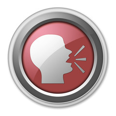 """Red 3D Style Button """"Talking Head / Discussion / Forum"""""""