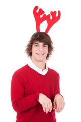 happy young man wearing reindeer horns
