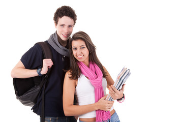 teens (young man and woman), going to school