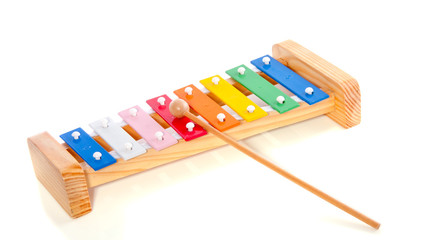 colorful wooden metal xylophone isolated over white