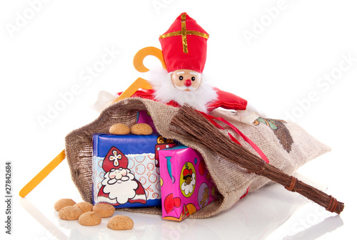 Dutch Sinterklaas festive with presents and gingernuts isolated