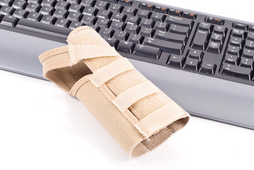 Wrist Brace on Computer Keyboard