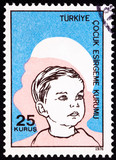 Canceled Turkish Postage Stamp Commemorating Social Services Boy poster