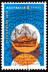 Australian Post Stamp Dutch Dirk Hartog Sailing Ship Crisscross