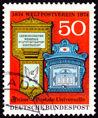 Canceled West Germany Postage Stamp Ornate Traditional Mailboxes