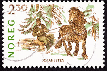 Canceled Norway Postage Stamp Dales Pony Pulling Man Log, Snow