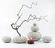 Arrangement mit Kerze, Steinen und Zweigen