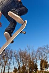 skate board going airborne