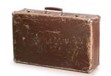 Old brow suitcase isolated on white poster