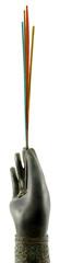 main de bronze soliflore tenant des bâtonnets d'encens