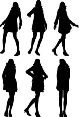 posing women vector illustration