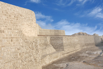 Southern wall of the Bahrain fort looking towards north east
