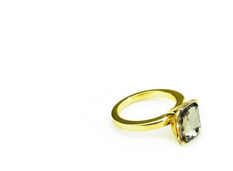Gold diamond ring on white