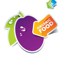 Icon plum with an arrow by organic food