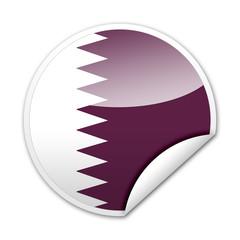 Pegatina bandera Qatar con reborde