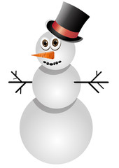 Funny snowman in black tophat, vector illustration