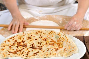 Making  gozleme, a traditional Turkish food.