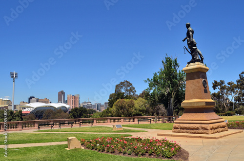 Colonel Light statue pointing out across the city of Adelaide