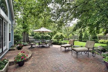 Brick patio of suburban home