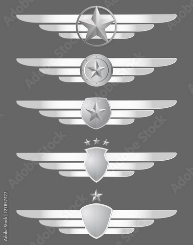 star shield and wings emblems