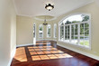 Dining room with cherry wood flooring