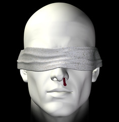 Blindfolded tortured man with bleeding nose illustration.