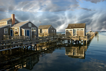 Group of Homes over the Water in Nantucket, U.S.A.