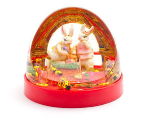 Christmas toy with two rabbits