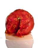 Rotten Tomato Up Close on White Background poster