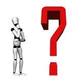 High resolution 3D question mark near a 3D human poster