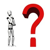 High resolution 3D question mark near a 3D human thinking poster