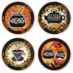 Drink coasters - coffee, tea, yerba mate theme