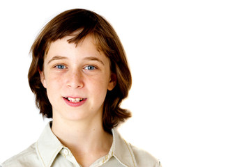 Portrait of teenager boy isolated on white background