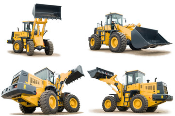 set of wheel loaders isolated