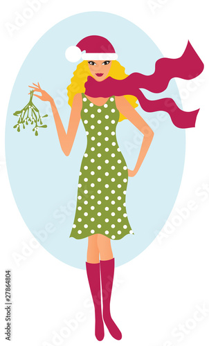 Girl with a mistletoe