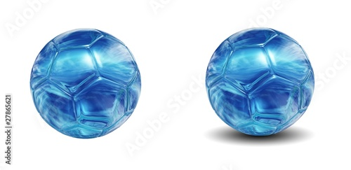High resolution 3D soccer balls isolated on white