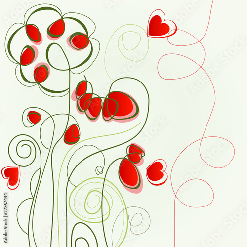 Tuinposter Abstract bloemen Flower love illustration