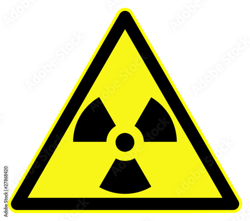 Nuclear hazard symbol. Black on yellow