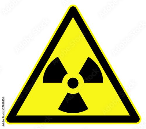 Nuclear hazard symbol. Black on yellow