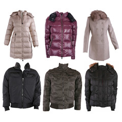 Collection of various types of winter jackets