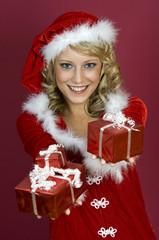 I`am Happy.  Frau im Santa Claus Kleidung.