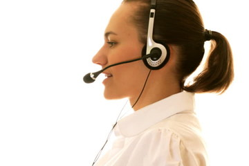 Attractive female helpdesk consultant